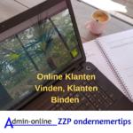 Foto laptop met tekst Klanten Vinden Klanten binden